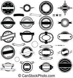 timbre, vendange, vectors, collection, étiquette, ou