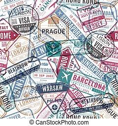 timbre, vendange, voyage, pattern., vacances, texture, seamless, aéroport, vecteur, arrivé, stamps., passeport, voyageur, mondiale, visa, voyager