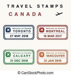 timbres, canada, voyage