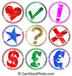 timbres, caoutchouc, symbole