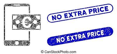 timbres, coût, collage, espèces, non, mobile, supplémentaire, euro, textured, rectangle