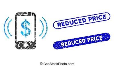 timbres, coût, collage, téléphone, anneau, paiement, réduit, grunge, rectangle