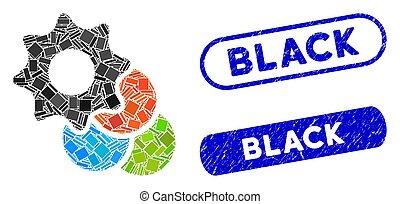 timbres, collage, couleur, options, détresse, rectangle, noir