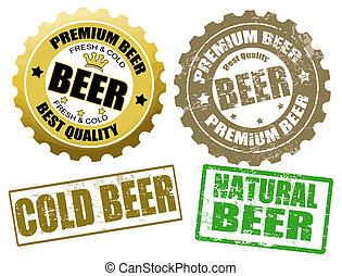 timbres, ensemble, bière, étiquette