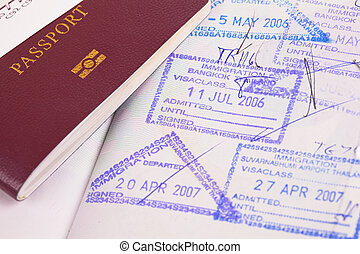 timbres, immigration, passeport