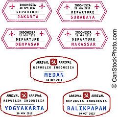 timbres, indonésie, passeport