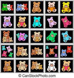 timbres, noir, teddies, coloré