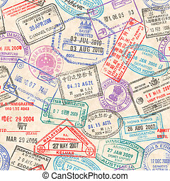 timbres, passeport, seamless, texture
