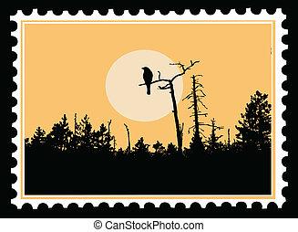 timbres-poste, vecteur, silhouette, hirondelle