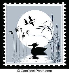 timbres-poste, vecteur, silhouette, oiseau