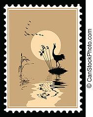 timbres-poste, vecteur, silhouette, oiseaux