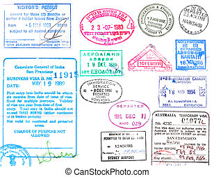 timbres, visa's, passeport