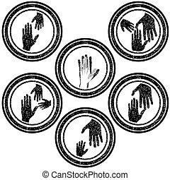 timbri gomma, concetto, famiglia, mani