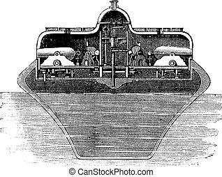 Timby's Revolving Turret, vintage engraved illustration