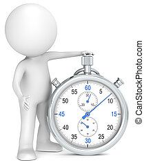 Time. - 3D little human character with a Stopwatch. Blue and...