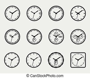 Time and clock icon set vector