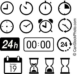 Time and Clock icons on white background. Vector illustration