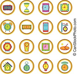 Time and Clock vector set, cartoon style