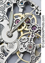 time and gear - close view of watch hands and mechanism