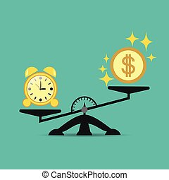 Time and money on the scales, business success. Vector concept. Time is expensive. Illustration for your projects.