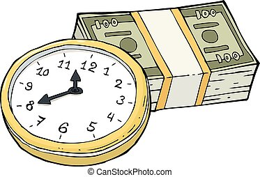 Time and money - Clock and a wad of cash vector illustration