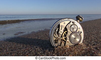 time and sea concept - beach clock