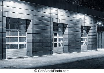 time., auto, nuit, bâtiment extérieur, service