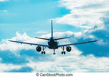 time., avion, atterrissage, passager, coucher soleil