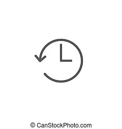 time back symbol vector icon isolated on white background