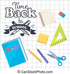 Time Back to School Inscription with Logo Vector - Time back...