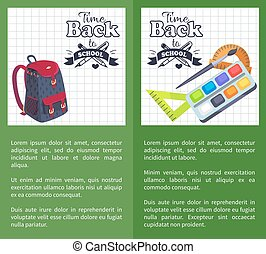 Time Back to School Posters Rucksack on Leaflet
