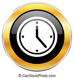 Time black web icon with golden border isolated on white ...