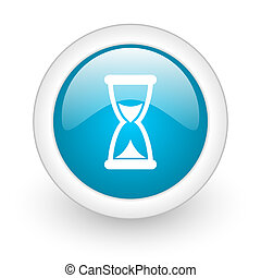 time blue circle glossy web icon on white background