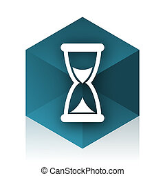 time blue cube icon, modern design web element