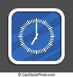 Time blue flat design square web icon