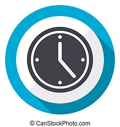 Time blue flat design web icon