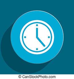 time blue flat web icon
