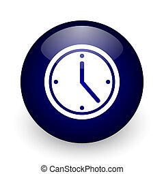 Time blue glossy ball web icon on white background. Round 3d...
