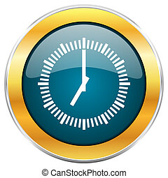Time blue glossy round icon with golden chrome metallic ...