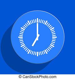 time blue web flat icon - blue web pushbutton
