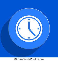 time blue web flat icon