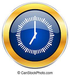 Time blue web icon with golden chrome metallic border ...