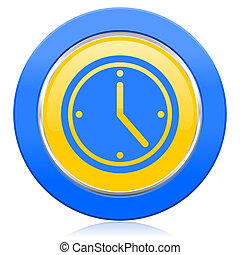 time blue yellow icon watch sign