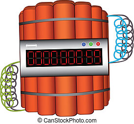 Time Bomb - Explosives with digital clock. Countdown timer....