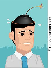 Time Bomb in the Head Vector Cartoon Illustration