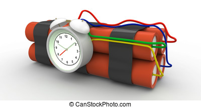 time bomb with dynamite and timer on white background