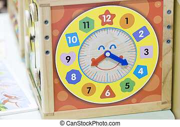 Time Box Wooden - toy learn and play with Time, color and number