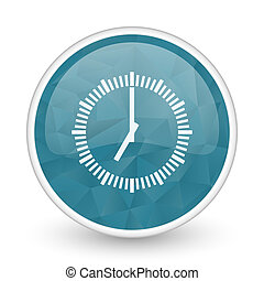 Time brillant crystal design round blue web icon.