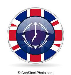 Time british design icon - round silver metallic border ...