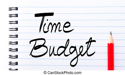 Time Budget written on notebook page